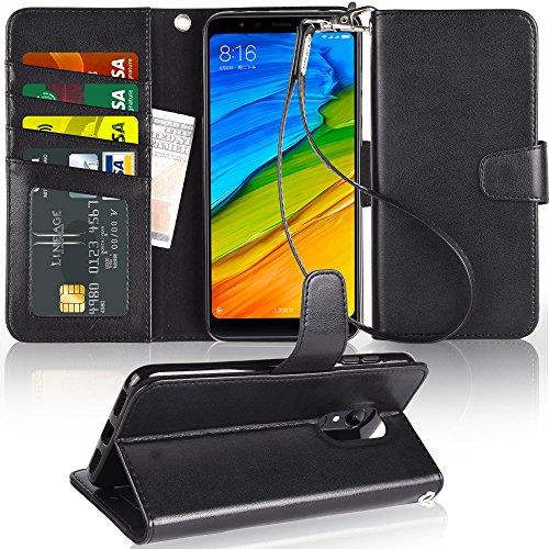 Arae Xiaomi Redmi 5 Plus Hülle, Handyhülle Redmi 5 Plus Tasche Leder Flip Cover Brieftasche Etui Schutzhülle für Xiaomi Redmi 5 Plus - Schwarz