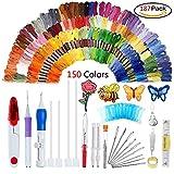 Oshide 187 Pcs Stickerei Set, Stickerei Nähen Punch Nadeln Craft Tool Set Kombination Einschließlich 150 Farbe Threads für DIY Nähen Kreuzstich