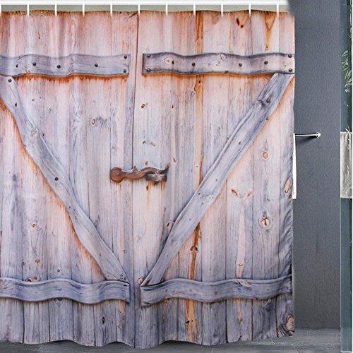Resistente al agua cortina de ducha, impresión digital, puerta de madera cortina de baño con 12ganchos, Vintage rústico decoración para el hogar cuarto de baño para inodoro (71x 71inch)