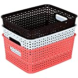 NAOE Plastic Storage baskets for Kitchen, Bedroom and Bathroom, 20x26x11-inch (Multicolour)-Set of 3