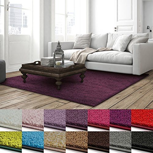 Shaggy Teppich Barcelona | weicher Hochflor Teppich für Wohnzimmer, Schlafzimmer und Kinderzimmer | mit GUT-Siegel und Blauer Engel | verschiedene Größen | viele moderne Farben | 66x130 cm | Lila
