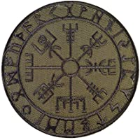 2AFTER1 Olive Drab Vegvisir Viking Compass OD Green Norse Rune Morale Tactical Hook&Loop Patch