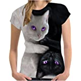 ANYY ✿T-Shirt DéContracté à Imprimé Chat 3D pour Femmes D'éTé à Manches Courtes à Col Rond Haut Top Imprimé Chat Noir Et Blan