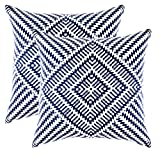 TreeWool - Pack de 2 - Caleidoscopio Acento Decorativo Fundas de cojín, 100% Algodón (50 x 50 cm / 20 x 20 Pulgadas, Azul Marino)