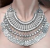 Bei wang New Fashion Silver Coins Statement Bib Chunky Choker Necklace Pendant for women girls by Bei wang