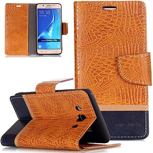 ZCXG Galaxy J5 2016 Hülle,Slim Vintage Tasche Hülle Leder Magnet mit Ständer Schutzhülle Kreditkartenhüllen Brieftasche Klappbar Silikon Innere Handyhülle Samsung Galaxy J5 2016 Orange -