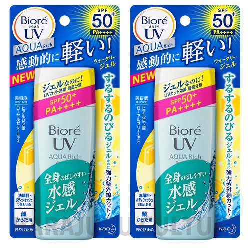 biore-sunscreen-sarasara-uv-aqua-rich-wateli-gel-spf50-pa-90ml-new-2015-2pcsgreen-tea-set