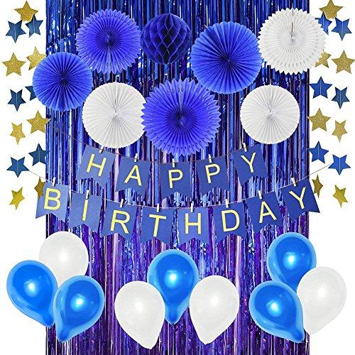 HappyField Marine-Geburtstags-Party-Dekorationen für Jungen Baby-Jungen Geburtstags-Party-Dekorationen Alles Gute ZUM Geburtstag Banner-Blaue Folien-Vorhäng