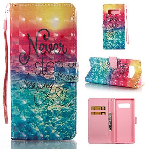 Galaxy Note 8Case [Handschlaufe], merkuyom [Standfuß] Geldbörse Leder Tasche [Karte] Flip Cover Stand Haut Schutzhülle für Samsung Galaxy Note 8Note 8, W/Stylus, 3D Never Stop Dreaming