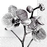 Servietten Trauer Feier Orchideen Blüten 20 Stück, 3-lagig Cocktail 25x25cm