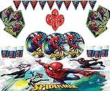 Marvel Spiderman Party Supplies Enfants Anniversaire Vaisselle Spiderman Décorations pour 16 - Spider Man Associez des Plaques Ballons en Latex & Bannières