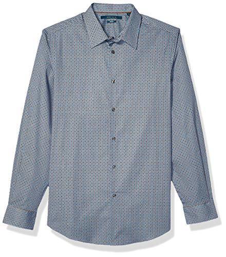 Perry Ellis Herren Micro Dot Print Stretch Long Sleeve Shirt Hemd, Partridge-4emw4059, XX Large -