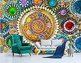 Mbwlkj Benutzerdefinierte Wandbild 3D Tapete Europäischen Vintage Bohemian Jade Mosaik Strukturtapete Modernes Wohnzimmer Ideen 3D Wandbild Für Wände-150Cmx100Cm