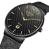 Relojes para hombre impermeable reloj de cuarzo analógico Hombres marca de lujo LIGE Fecha negocios vestido para relojes Hombre negro malla de acero inoxidable reloj simple de la manera