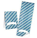 10 Aufkleber weiß blau bayerisch kariert Etiketten Namensschilder 5 x 14,8 cm Namensaufkleber Geschenkaufkleber Geschenk-Verpackung Tischkarten basteln Sticker Papiertüten zukleben