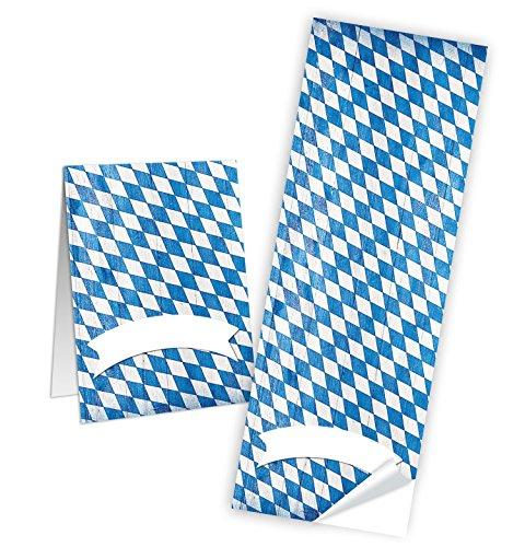 (10 Aufkleber weiß blau bayerisch kariert Etiketten Namensschilder 5 x 14,8 cm Namensaufkleber Geschenkaufkleber Geschenk-Verpackung Tischkarten basteln Sticker Papiertüten zukleben)