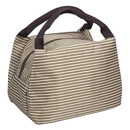 Sinwind borsetta porta pranzo termica portatile pranzo borsa lunch bag il picnic della scuola ufficio (marrone)