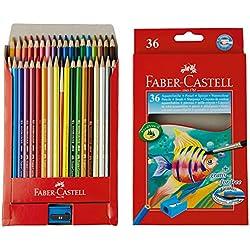 Faber Castell 114437 - Estuche de cartón con 36 ecolápices acuarelables de colores y pincel, multicolor