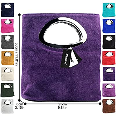 Wocharm Ladies Handbag Womens Suede Leather Plain Top Handle Small Foldable Evening Clutch Bag