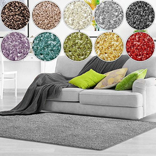 Shaggy Teppich Bali | weicher Hochflor Teppich für Wohnzimmer, Schlafzimmer und Kinderzimmer | mit GUT-Siegel | verschiedene Größen | viele moderne Farben (100 x 150 cm, grau)