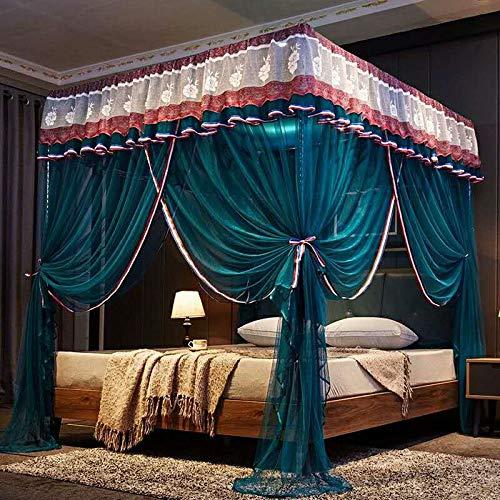 RZJF Moskitonetz - Edelstahlhalterung Sommer-Moskitonetz 1.8-2.0 Bettwäsche Blau 1,2 M (4 Fuß) Bett