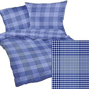 Heubergshop 2-teilige Seersucker Bettwäsche 155x220cm + 80x80cm - Blaues Muster gestreift im Landhaus Stil - Bettgarnitur aus 100% Baumwolle (190/1)