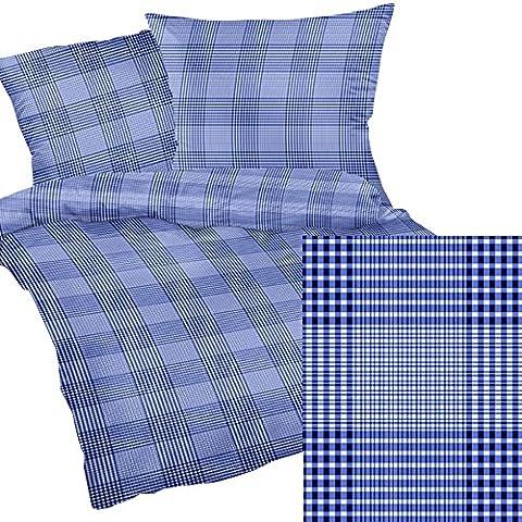 2.tlg Seersucker Bettwäsche 135x200cm und 80x80cm - Blue Blau Muster - 100% Baumwolle (190/1) (Blaue Gestreifte Kissen)