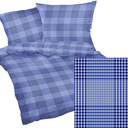 Heubergshop 2-teilige Seersucker Bettwäsche 135x200cm + 80x80cm - Blaues Muster gestreift im Landhaus Stil - Bettgarnitur aus 100% Baumwolle (190/1)