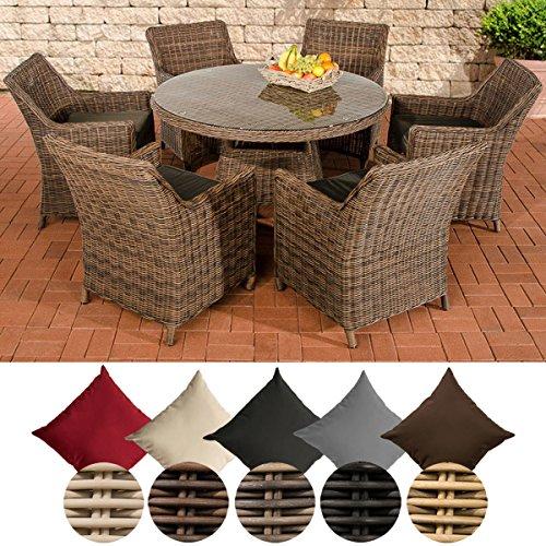 CLP Polyrattan Sitzgruppe GINOSA   Garten-Set: EIN runder Esstisch mit Glasplatte und sechs Stühle   In verschiedenen Farben erhältlich Rattan Farbe braun-meliert, Bezugfarbe: Terrabraun