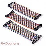 AZDelivery ⭐⭐⭐⭐⭐ 3 x 40 Stk. Jumper Wire m2m/f2m/f2f für Arduino Breadboard