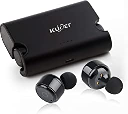 KLIDER ProAudio True Bluetooth v4.2 Earphones With Deep Bass Stereo Sound, CVC 6.0 Noise Cancellation, Magnetic Charging Case And Mic (Metal Black)