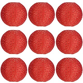 ACVIP Pack of 9 Hollow Out Paper Lantern Lampshades Birthday Party Garden Home Decoration Red (16 inches Diameter)
