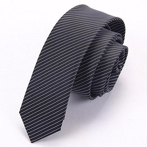XZLP99 Herren Krawatte Koreanische Version Des Schmalen Version 5 Cm Blau Streifen Arbeiten Studenten Der Wirtschaftswissenschaften Der Kleinen Lounge, Schwarz Und Weiß Zu Binden,