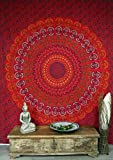 Guru-Shop Indisches Mandala Tuch, Wandtuch, Tagesdecke Mandala Druck - Rot/orange, Baumwolle, 280x220 cm, Bettüberwurf, Sofa Überwurf