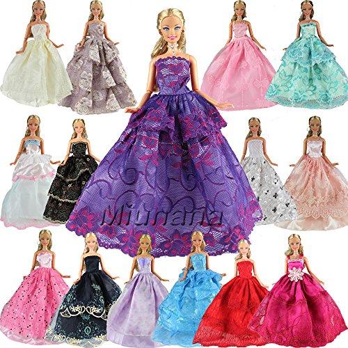 5er Packung Handmade Modisch Hochzeit Party Abendkleid Kleider & Kleidung für Barbie-puppe Weihnachten Geschenk (Weihnachten Kleidung)