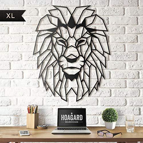 Hoagard Cabeza de león XL geométrico de Metal para Pared 65 cm x 90 cm | Arte de Pared geométrico de Metal y decoración de Pared para Navidad