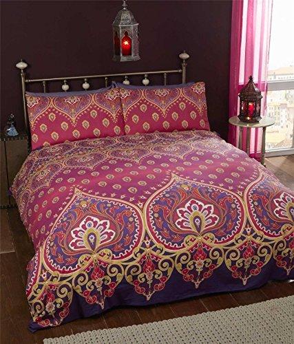 Indisch Henna Stil Rot Violett Baumwollmischung breites Doppelbett (uni MALVENFARBEN lila passendes Leintuch - 180 x 200cm + 25) 4-tlg. Bettwäsche Set (Violett Tröster Set)