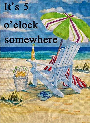 crysss Decorative Quote Outdoor it's 5 o'clock Somewhere Garden Flag Beach Chair Umbrella Double Sided, Tropical Ocean House Flag, Seasonal Outdoor Flag 12.5 x 18 Summer Gift