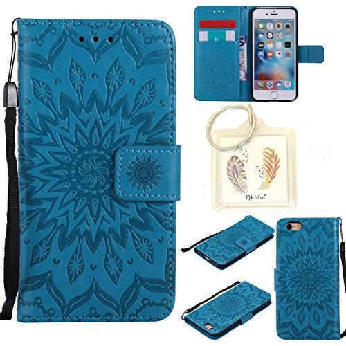 """Preisvergleich Produktbild für Iphone 6 Plus (5, 5"""") Geprägte Muster Handy PU Leder Silikon Schutzhülle Handy case Book Style Portemonnaie Design für Apple Iphone 6 Plus (5, 5"""") + Schlüsselanhänger789 (2)"""