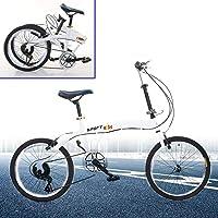 Berkalash Klapprad, 20 Zoll Faltrad Fahrrad 7 Gang Klappfahrrad Folding Bike, für Herren Damen Jungen, Weiß, Doppel-V…
