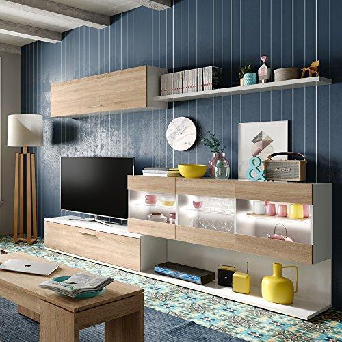Habitdesign 0F6676BO - Mueble de Comedor, Mueble Salon con Leds, Medidas: 260...