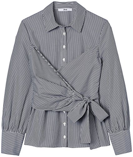 FIND Damen Bluse Ticking Stripe Wrap Blau (Blue Stripe)