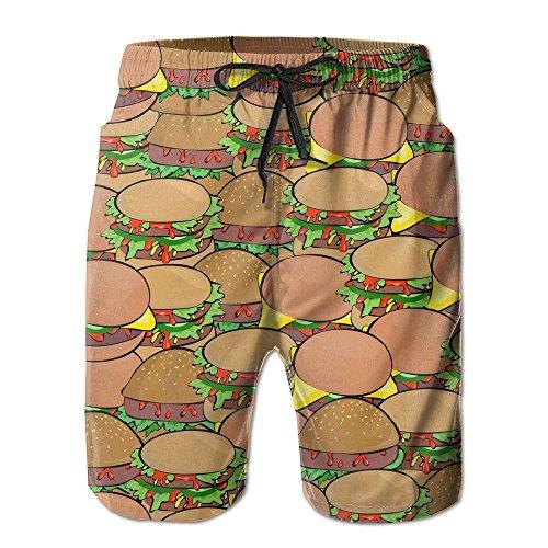 Linkla Danniol Mens Beach Shorts Delicious Hamburgers Swim Trunks Board Cargo Summer Shorts Quick-Drying Medium