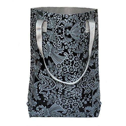 Ikuri - Bolso bandolera, bolso shopper mujer multicolor estampado, resistente al agua, impermeable, de hule, artesanal, modelo Eden negro