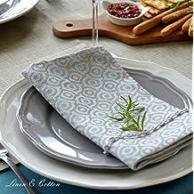 Linen & Cotton Juego de 4 Servilletas de Tela de Damasco CERVO 100% Lino (47 x 47cm, Azul Claro/ Beige(Patrón Ornamental))