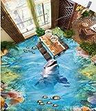 Poowef 3D Wallpaper Wallpaper La Laguna Dei Delfini 3D Piano Film Pvc Adesivo All'Acqua-Resistenti Anti-Slittamento