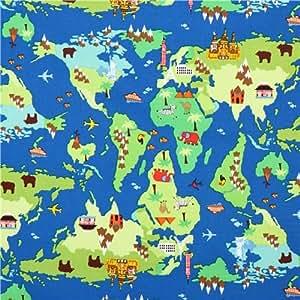Tissu bleu avec la carte du monde par Timeless Treasures