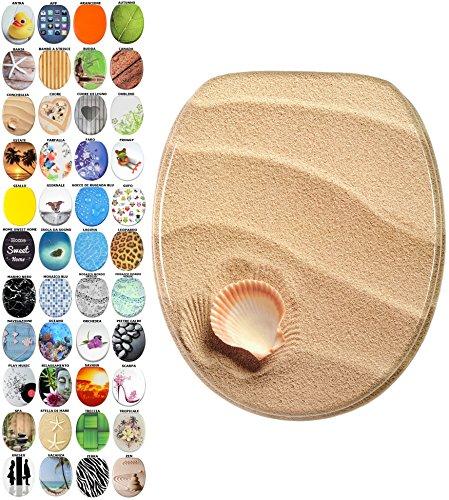 Sedile WC con chiusura ammortizzata, grande scelta di belli sedili WC da legno robusto e di alta qualità (Conchiglia)