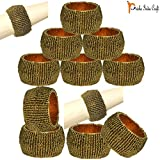 Prisha India Craft - Beaded Napkin Rings Set Of 12 Dark Gold - 1.5 Inch In Size-Perfect Wedding Napkin Rings