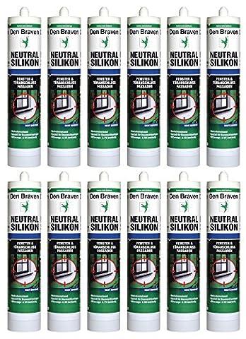 Brave le neutre 300 ml silicone non corrosif, résiste aux uV et aux bauSilikon-fabriqué en allemagne-lot de 12 en carton, brun,